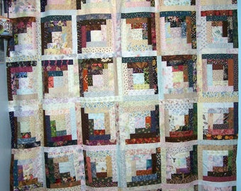 Shower curtain log cabin patchwork