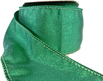 "Emerald Green Sparkle Wired Ribbon  2.5"" Wide"
