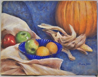 Original Painting - Acrylic on Canvas - 11x14 inch - Autumn Still Life - Pumpkin - Painting of Fruit - Indian Corn - Apples - Wall Art