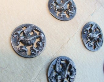 Set of 6 Vintage Openwork Picture Pewter Buttons Realistic Bird