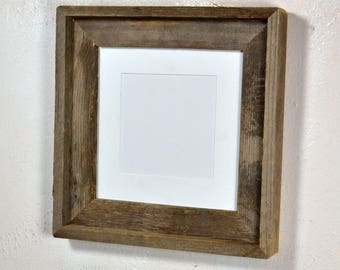 Rustic wood picture frame 8x8 with white mat for 6x6 photo complete 20 mat colors to choose from free US shipping