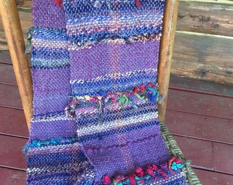 Hand woven scarf, wrap, shawl, boho chic, handmade from our own animals, weaving one of a kind, made from handspun yar,n sheep wool
