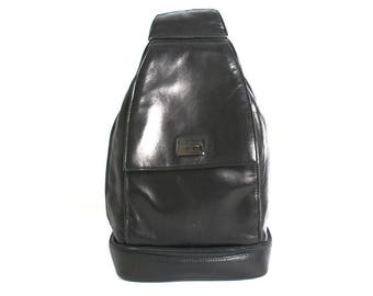 PERLINA black leather 80s 90s TRIANGLE knapsack hobo grunge BACKPACK purse