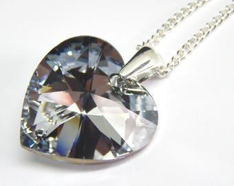 Large Grey Swarovski Heart Necklace - Comet Argent Light Crystal - Silver Grey Crystal Necklace - Swarovski Elements - Grey Crystal Heart