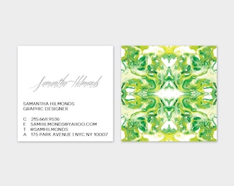 Chartreuse + Green Tiled Marble Calling Cards   Business Cards   Blogger Cards   Set (50)