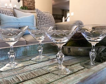Fostoria Leaves Pattern Crystal Champagne Glass Tall Sherbet Set of Four Bubble in Stem Martini Wedding TYCAALAK