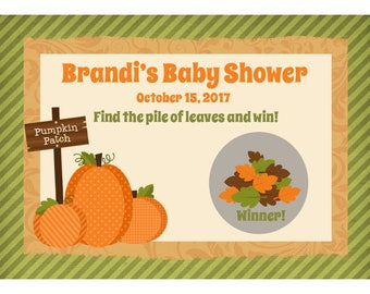 24 Personalized Baby Shower Scratch Off Game Cards  -  Pumpkin Patch - Fall Baby Shower Game