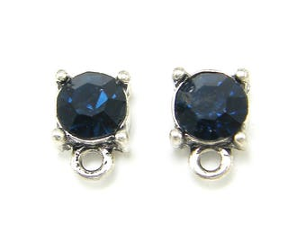 Blue Earring Posts Blue Silver Plated Rhinestone Faceted Stone Earring Findings Stud Earring Post with Loop |B1-3|2