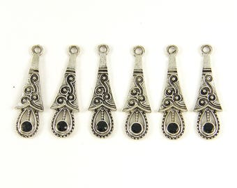 Black Silver Teardrop Earring Dangles, Black Rhinestone Earring Findings Antique Silver Drop Pendant Charms |BL1-1|6