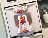 Vintage Inspired Kitchen Towel Dress / Dish Towel Dress / Tea Towel Dress /Blue Polka Dots w/ Colorful Fruits & Veggies Dish Towel by Klosti
