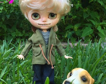Custom Blythe Dolls For Sale by Custom Blythe Doll Alfie customized Favtory Blythe Boy Art Doll One of a Kind..