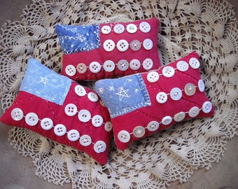 Set of Three Primitive Mini Flag Pillow Bowlfillers From Vintage Quilt Rustic Country Americana Patriotic