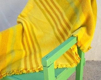 30% MOVING SALE RARE L.F. Foght afghan / 60s Danish Modern throw blanket / Scandinavian wool blanket / gold yellow lime stripes / 48x76 Gorg