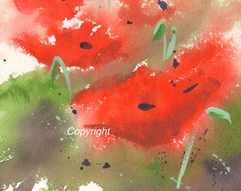 Original abstract watercolor painting-Poppies