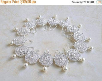 Summer Sale White Pearl Octagon CZ Silver Chandelier Earrings 3 pairs
