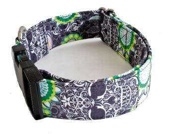 "Dog Collar - Henna Damask Skull - Buckle, Martingale - 1.5"" & 2"" Widths"