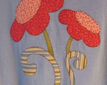 Pink Flowers Appliqued on Blue Large T'shirt
