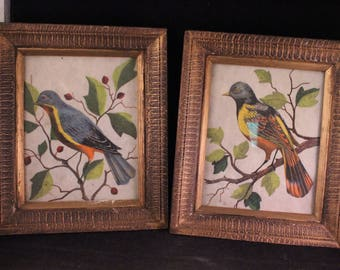 Pair of Vintage Gold Painted Wood Framed Bird Pictures