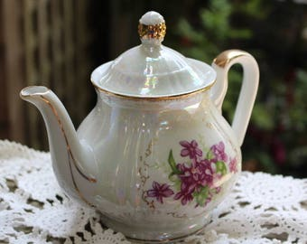 Vintage Lustreware with Purple Violets and Gold Trim Teapot