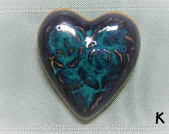 Heart Fridge Magnet with Rose Design - Navy Blue and Teal - Stoneware Handmade Pottery Best Friend BFF Gifts Party Favors Wedding Favors