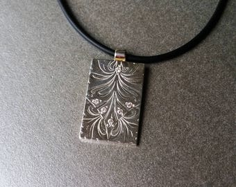 Sterling silver etched pendant