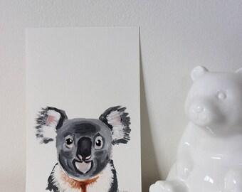 Koala Portrait, Koala Painting, Koala Art, Koala Nursery, Nursery Art, Nursery Animal Art, Nursery Animal Painting, Koala Decor, Australian