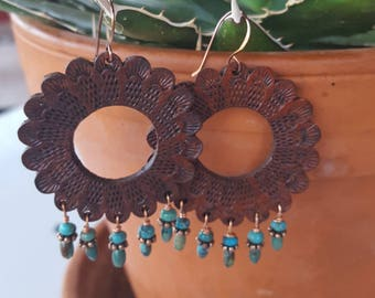 Leather Earrings  - Hand Tooled Hoop Earrings - Concho - Brown Leather - Turquoise - Copper Earrings - Western Jewelry - Cowgirl Jewelry
