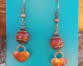 COPPER Heart Earrings - Carnelian- Cowgirl Earrings - Rustic Jewelry - Love - Boho - Western Jewelry by Heart of a Cowgirl