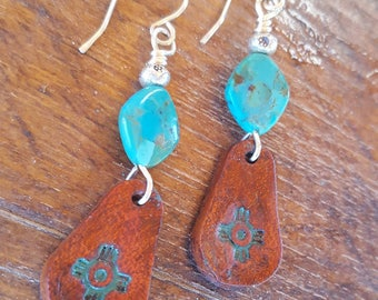 Leather and Turquise Earrings - Zia Symbol - Sterling Silver - Cowgirl Jewelry - Western -Leather Earrings by Heart of a Cowgirl