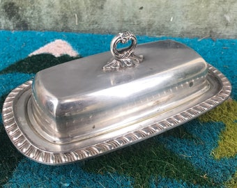 FB Rogers Silver Co Vintage Silver-plated Ornate Butter Dish Tray and cover