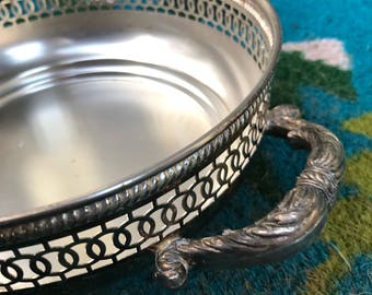 Towle silver plated lattice edge ornate handles vintage serving dish