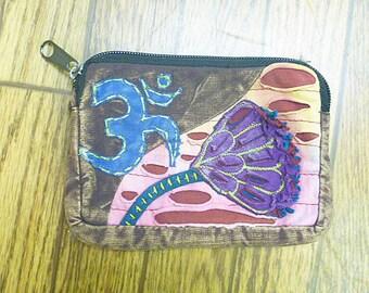SALE Om Coin Pouch  Wristlet  Change Purse   Makeup Bag  Festival Bag  hippie  Womens Teens