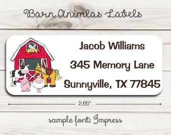 Barn Animals Address Labels