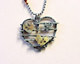 Silver industrial heart pendant rustic hammered copper brass ball chain necklace