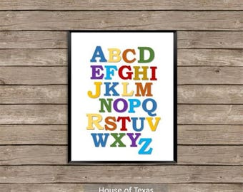 Colorful Alphabet white background nursery wall print, would be great addition to any nursery or toddler's room.