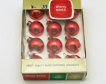 Vintage Christmas Red Glass Ornaments Shiny Brite  Box