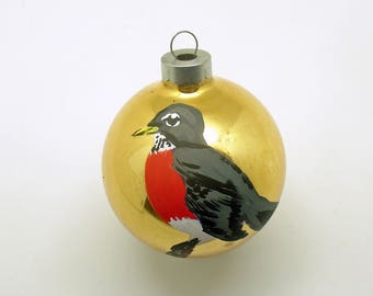 Vintage Christmas Glass Ornament Bird Rauch