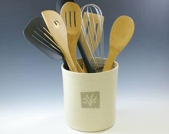 Ceramic Kitchen Utensil Holder, Crock Spoon Holder Jar,  Handmade Farmhouse Pottery, Housewares, Stoneware Clay Vase, Kitchen Tool Holder