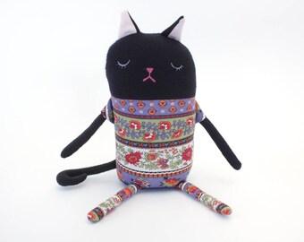 "Cat Sleepy Kitty in Pajamas ""Brenda"" Cotton Monster Plush"