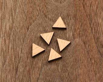 15 pcs triangle handmade laser cut wooden cabochons wood cut slice disc charm (WS 185)
