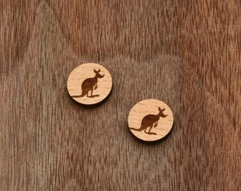 8 pcs Kangaroo Wood Charm, Carved, Engraved, Earring Supplies, Cabochons (WC 316)