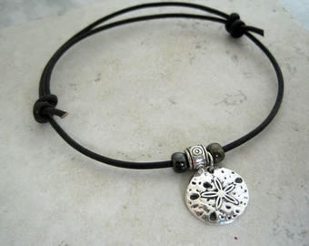 Leather Pull Cord Bracelet Sand dollar Charm Nautical Surf