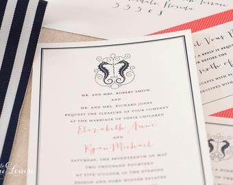 Romantic Beach Wedding Invitations- Rustic Seahorse Invitations