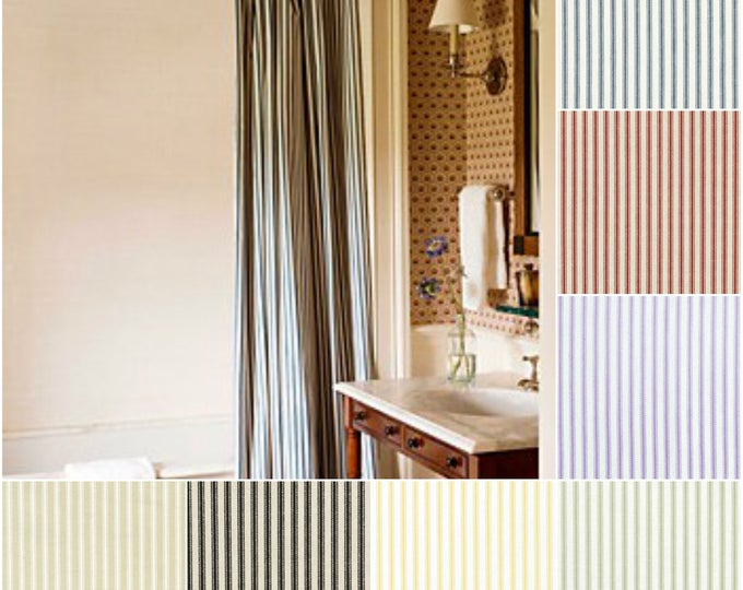 Featured listing image: Custom Cotton Ticking Stripe Drapes - Lined