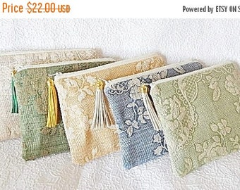 CLEARANCE - Cotton vinyl pouches, green tapestry clutch, bridal gifts,  makeup bag, cosmetic pouch, purse organizer, 6 colors to choose from
