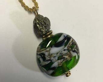 Lime Tiger Bead Lampwork Necklace