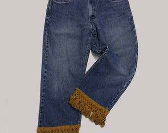 Cropped Vintage Levi Jeans with Cotton Fringe Trim 34 waist