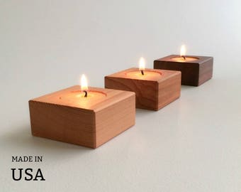 Modern Home Accent Candles, Home Decor Square Contemporary Wood Tea Lights, Candle Decor, Candle Gift Set of Three with Beeswax Tea Lights