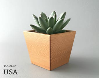 Angled Wood Planter, Small Modern