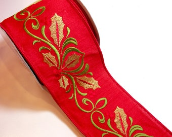 Christmas Ribbon, Lion Brand Lottie Wired Fabric Ribbon 4 inches wide x 10 yards, Embroidered Ribbon, Holly